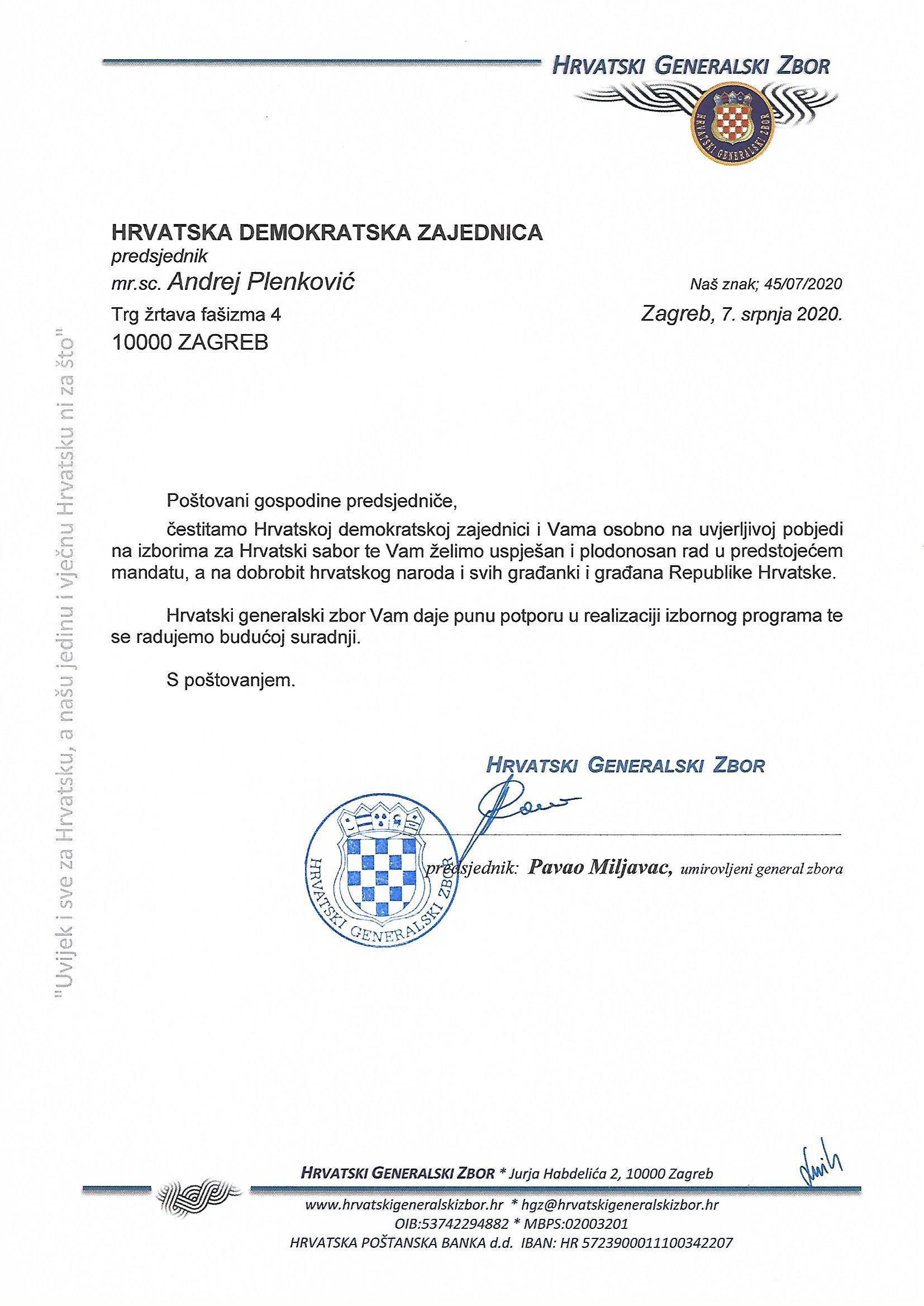 Čestitka pobjednicima izbora za Hrvatski sabor